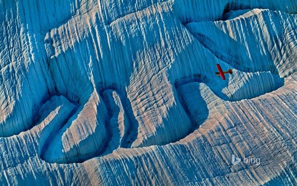 Фото обои горы, самолет, ледник, Аляска, США, Wrangell-St. Elias National Park and Preserve