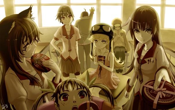 Фото обои аниме, конфеты, компания, друзья