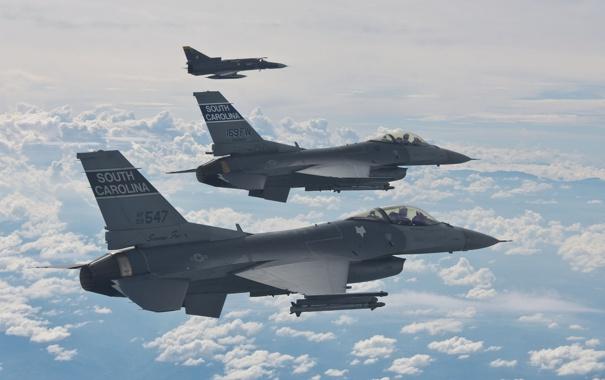Фото обои истребители, пара, полёт, F-16, Fighting Falcon, «Файтинг Фалкон»