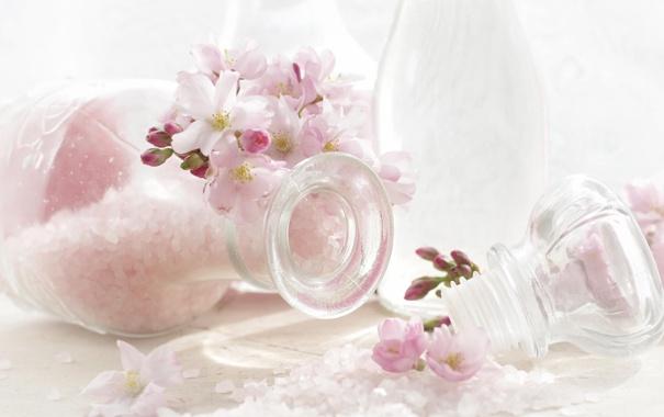 Фото обои макро, цветы, розовая, баночки, соль, соцветие