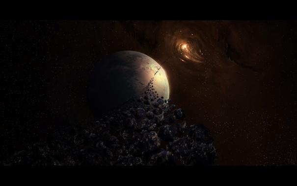 Фото обои планета, свечение, астероиды