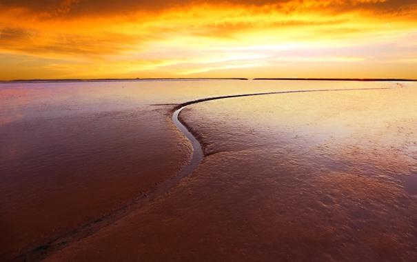 Фото обои песок, пляж, закат, ручей, горизонт