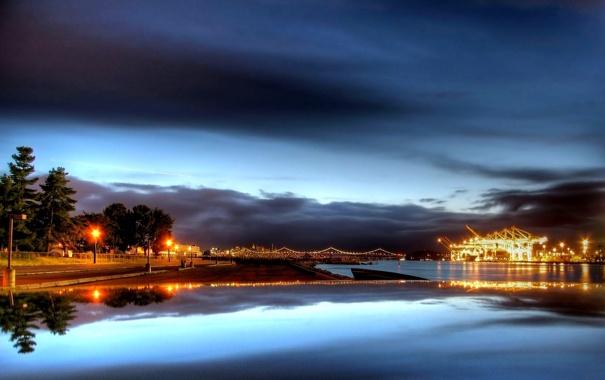 Фото обои мост, реке, на ночной, Далекий