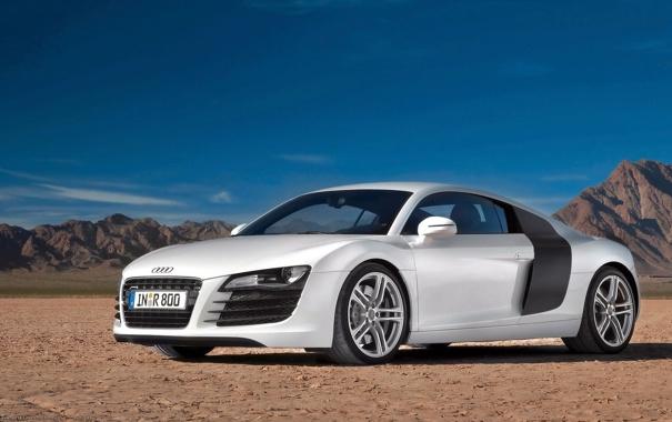 Фото обои пейзаж, Audi, white, гравий