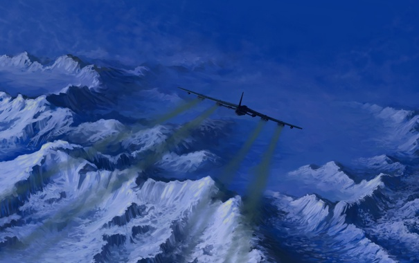 Фото обои небо, полет, авиация, горы, самолет, арт, USAF B-52