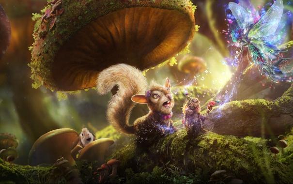 Фото обои лес, трава, грибы, сказка, кролик, фея, белка