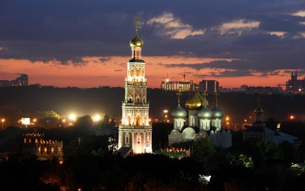 Фото обои ночь, огни, башня, Москва, Россия, монастырь, купола