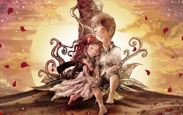 Фото обои солнце, любовь, закат, цветы, дерево, завитки, мальчик