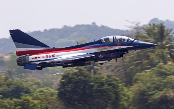 Фото обои истребитель, взлет, китайский, многоцелевой, всепогодный, Chengdu, J-10SY
