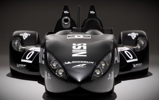 Фото обои чёрный, фары, nissan, прототип, ниссан, передок, гоночный болид