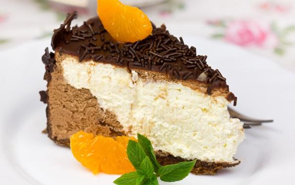 Фото обои сладость, шоколад, пирожное, cake, мята, chocolate, мандарин