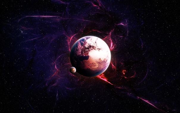 Фото обои звезды, сияние, планета, спутник, stars, planet