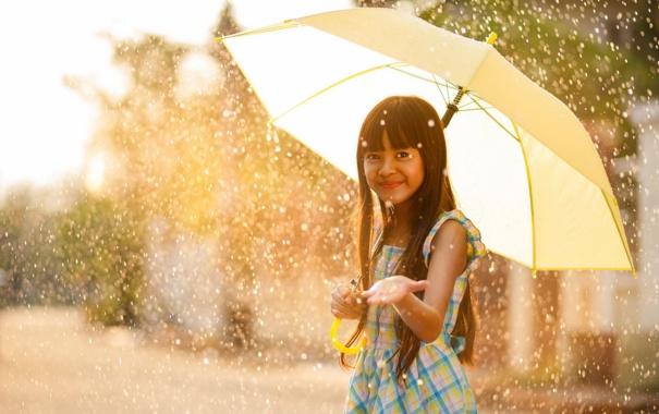 Фото обои дождь, настроение, зонт, девочка