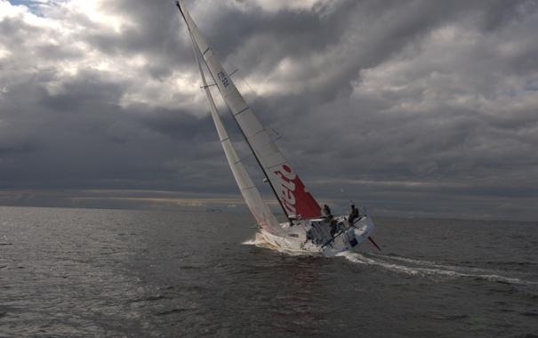 Фото обои море, небо, облака, яхта