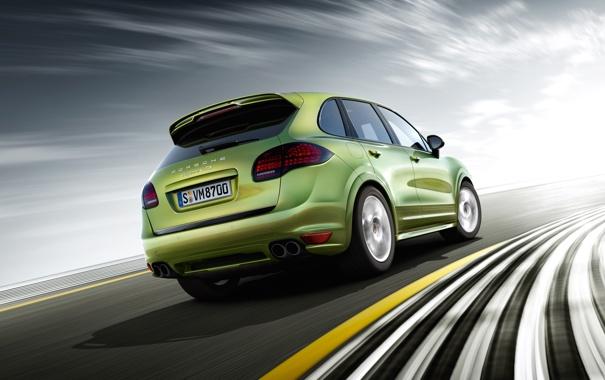 Фото обои дорога, скорость, зелёный, Porsche Cayenne