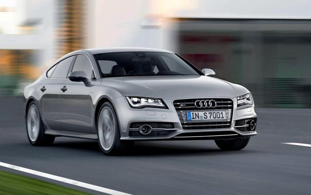 Фото обои Audi, Авто, Серый, Серебро, Капот, Фары, Передок