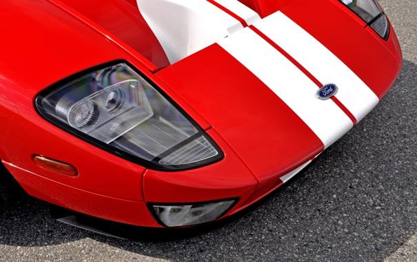 Фото обои красный, фары, капот, Ford GT, спорткар, форд