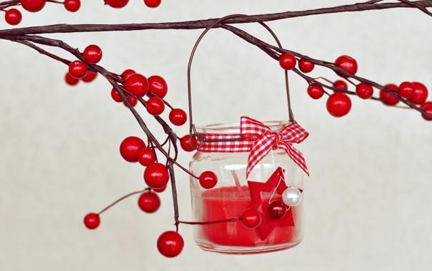 Фото обои ягоды, свеча, ветка, красные, бант, остролист, падуб