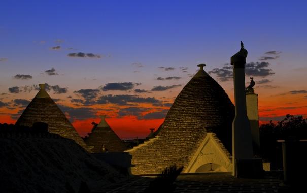 Фото обои небо, облака, свет, огни, сооружение, зарево