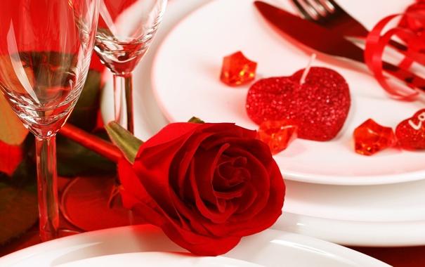 Фото обои цветок, роза, свечи, бутон, бокалы, тарелка, красная