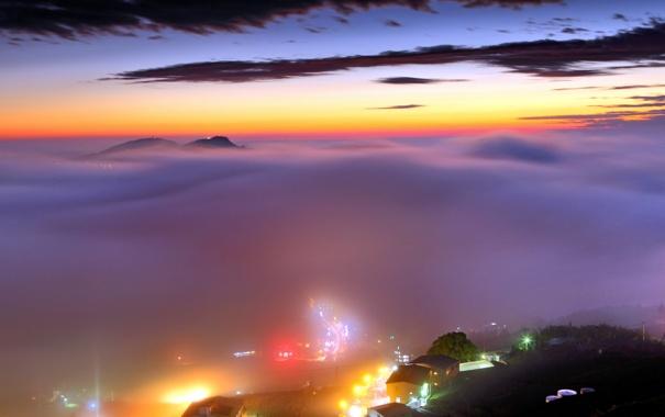Фото обои закат, город, туман