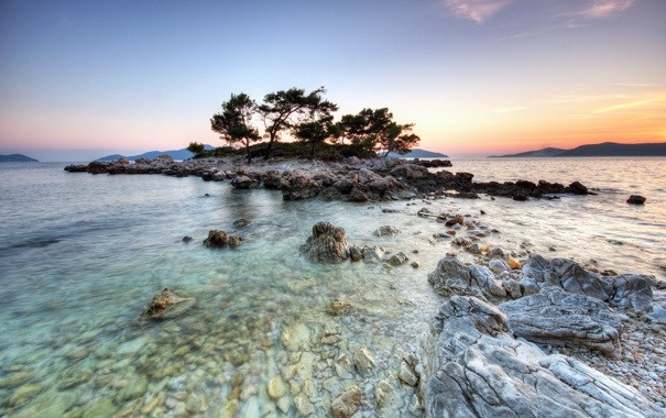 Фото обои деревья, озеро, камни, остров