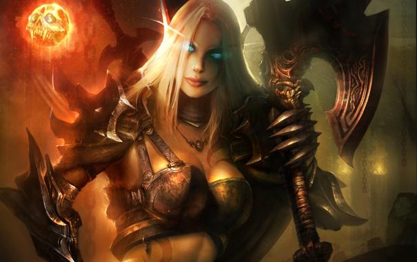 Фото обои девушка, оружие, магия, череп, доспехи, WoW, World of Warcraft