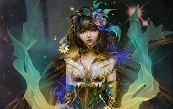 Фото обои девушка, цветы, China, звёзды, лучница, фэнтези, арт