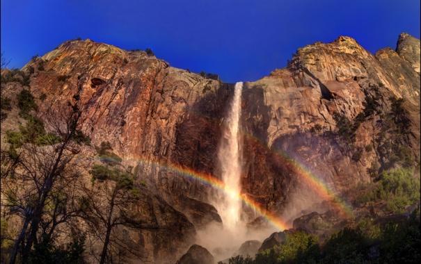 Фото обои природа, скала, парк, фото, водопад, радуга, Калифорния