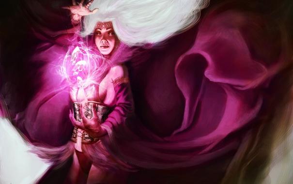 Фото обои девушка, магия, арт, маг, души, белые волосы, колдунья