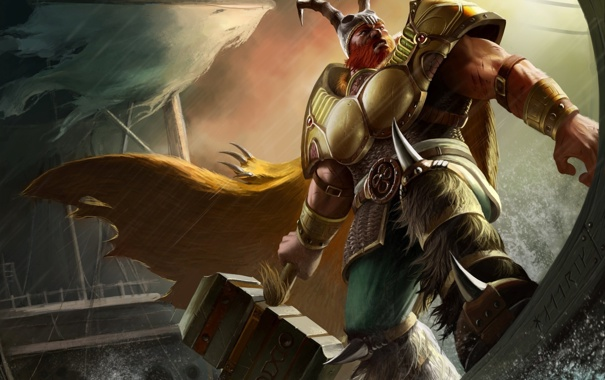 Фото обои море, брызги, молот, арт, рога, шлем, Arena of Heroes
