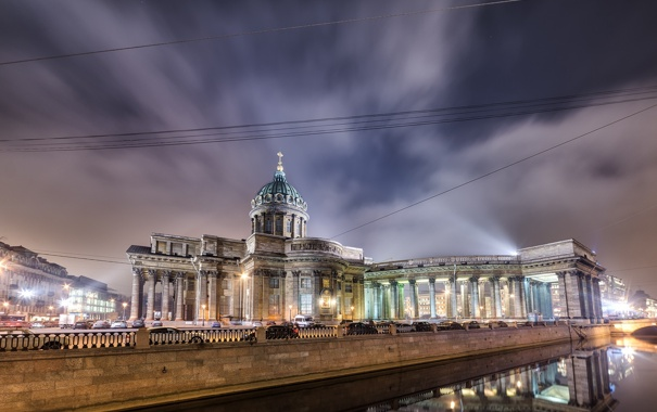Фото обои ночь, огни, Город, Питер, Собор, Россия, Казанский