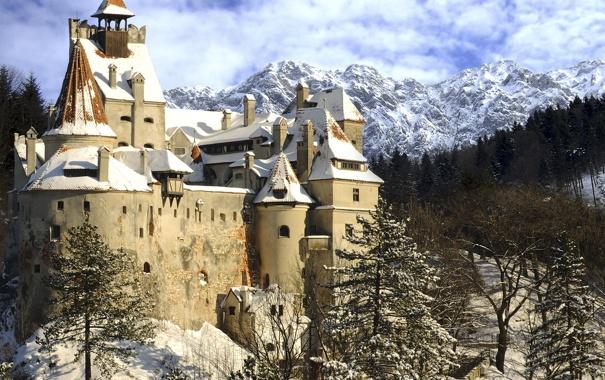 Фото обои замок, winter, castle, старинный, зима, снег