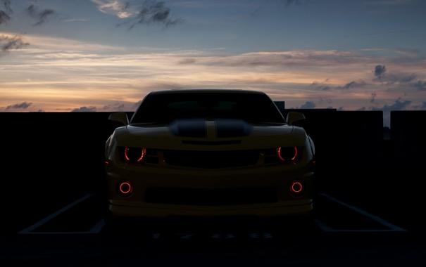 Фото обои закат, chevrolet camaro, devil eyes