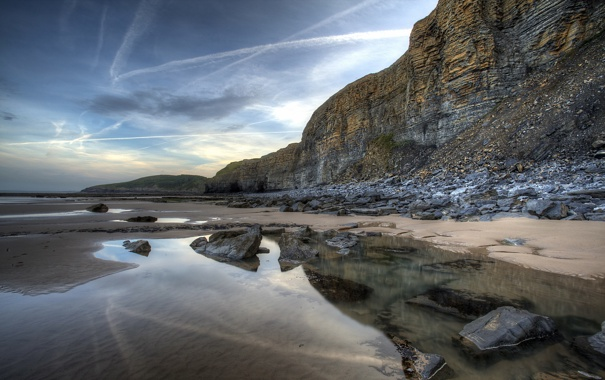 Фото обои пейзаж, скалы, берег, море