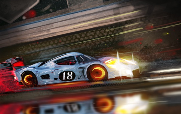Фото обои машина, гонка, скорость, арт, Vladimir Gasai