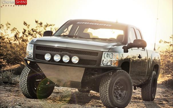 Фото обои фары, Chevrolet, оптика, перед, Silverado, Charles Siritho