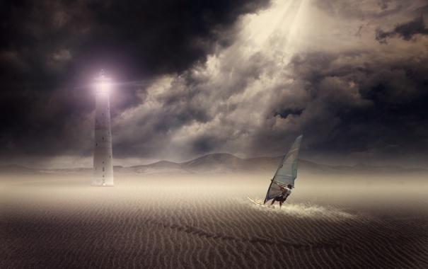 Фото обои песок, спорт, пустыня, человек, маяк