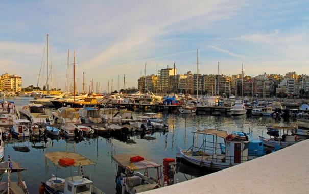 Фото обои город, дома, пирс, фото, причал, Pireas, Греция