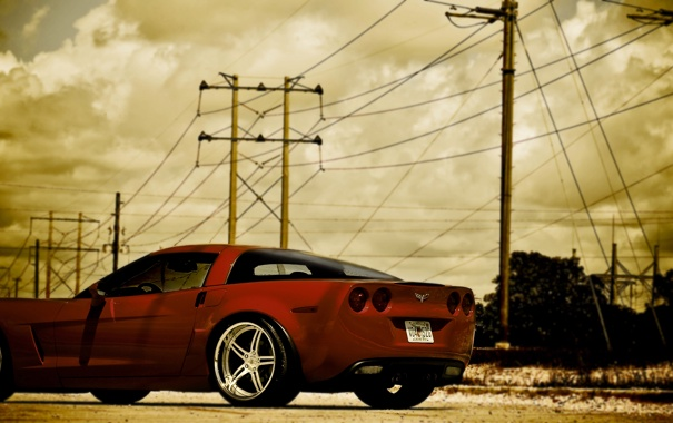 Фото обои небо, красный, Z06, Corvette, Chevrolet, red, шевроле