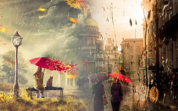 Фото обои осень, девушка, капли, природа, зонт, фонарь, санкт-петербург