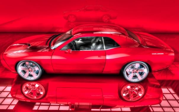 Фото обои машина, отражение, рисунок, спорт кар, красная, красный фон, Dodge Charger