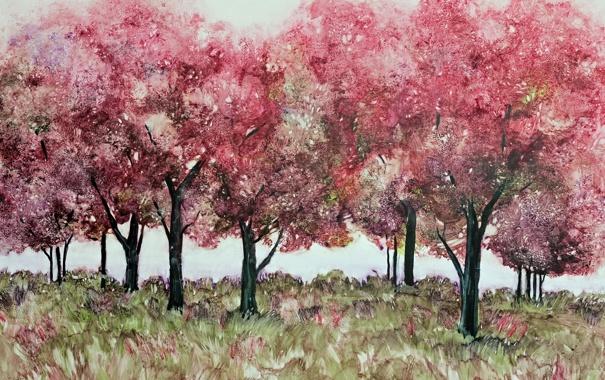Фото обои деревья, фон, картина