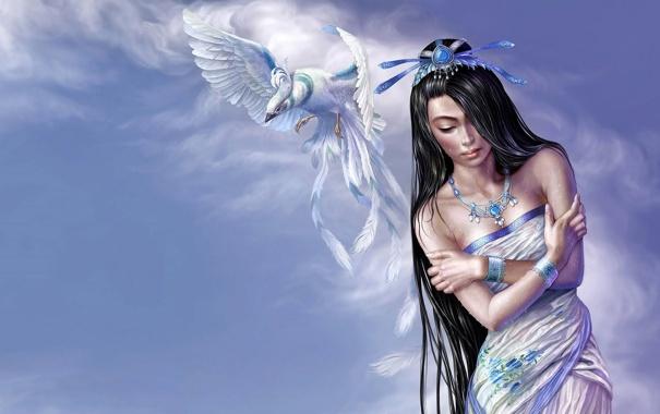 Фото обои вода, девушка, капли, украшения, полет, птица, крылья