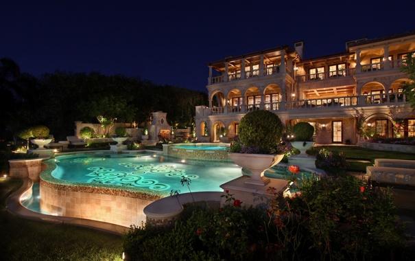 Фото обои деревья, ночь, огни, дом, растения, бассейн, освещение