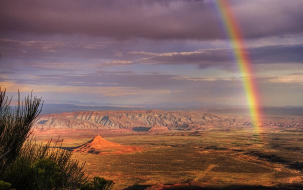 Фото обои горы, скалы, пустыня, радуга, юта, долина богов