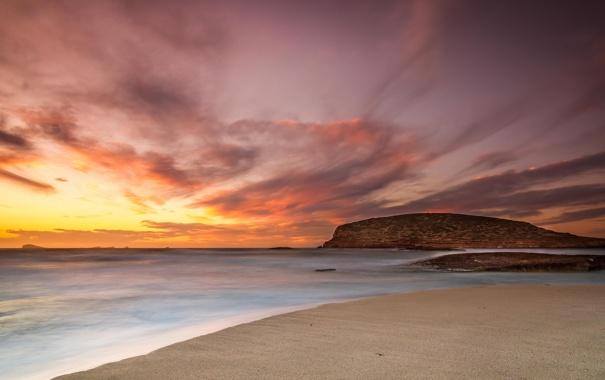 Фото обои песок, пляж, пейзаж, океан, скалы, рассвет, берег