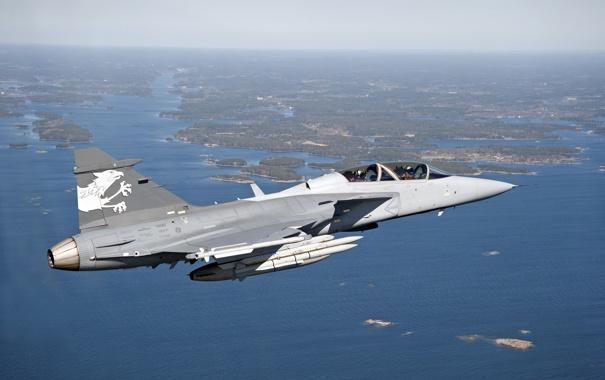 Фото обои полет, истребитель, Saab, бомбардировщик, пилоты, суша, многоцелевой