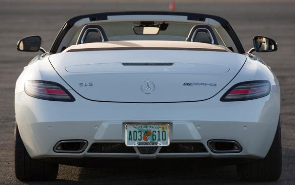 Фото обои машина, Roadster, Mercedes-Benz, родстер, AMG, SLS, задок
