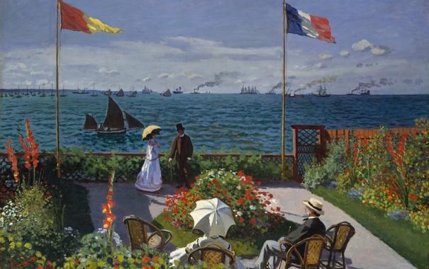 Фото обои искуство, картина маслом, 1867, Клод Моне, Терраса в Сент-Адресс